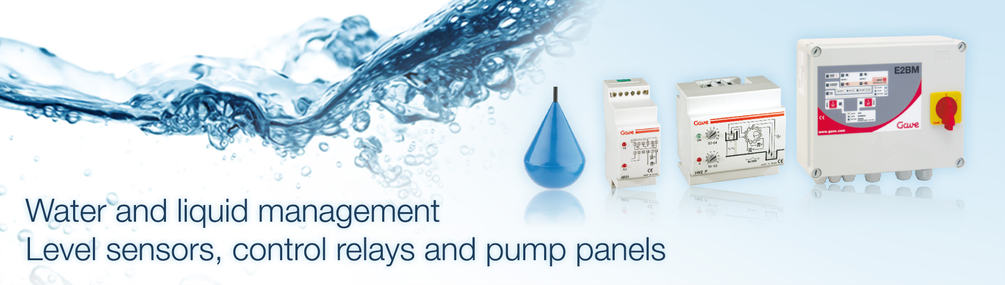 Water and liquid management. Level sensors, control relays and pump panels